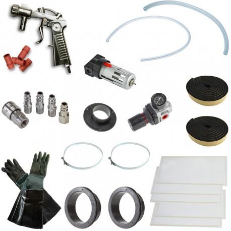 Strahlkabine selbstbau Paket type 2 für eine Sandstrahlkabine von 200 bis 300 liter - Strahlkabine Zubehör Set